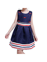 cheap -Girl's Party Holiday Solid Floral Dress, Cotton Acrylic Polyester Spring Summer Sleeveless Simple Vintage Navy Blue