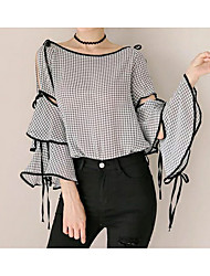 cheap -Women's Work Going out Simple Cotton Blouse - Solid Colored Strap Off Shoulder