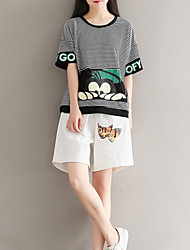 baratos -Mulheres Camiseta Fofo Básico Estilo Moderno,Riscas