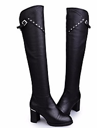 cheap -Women's Shoes PU Fall Winter Fashion Boots Comfort Boots Chunky Heel Over The Knee Boots for Black