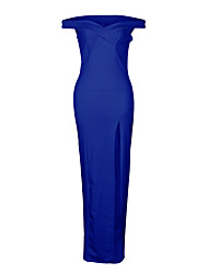 cheap -Women's Beach / Club Street chic Sheath Dress - Solid Colored / Simple Blue, Backless / Split High Rise Maxi V Neck