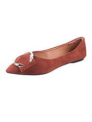 abordables -Femme Chaussures Gomme Printemps Automne Confort Oxfords Talon Plat Bout rond pour De plein air Noir Rose Brun Foncé