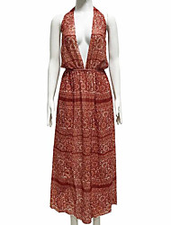 cheap -Women's Boho Puff Sleeve Sheath Dress - Geometric Print High Waist Maxi Deep V