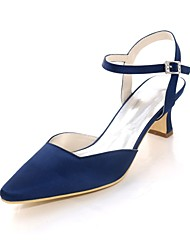 cheap -Women's Shoes Satin Spring Summer Basic Pump Wedding Shoes Block Heel Square Toe Buckle for Wedding Party & Evening Silver Dark Blue Red