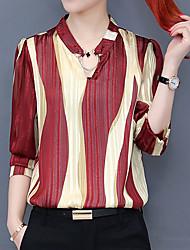 cheap -Women's Work Sexy Street chic Shirt - Striped, Print V Neck