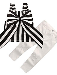 Недорогие -Дети (1-4 лет) Девочки На каждый день Уличный стиль Повседневные На выход Полоски Бант Без рукавов Короткий Набор одежды Белый