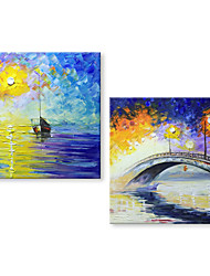 cheap -STYLEDECOR Modern Hand Painted Abstract Sunset Oil Painting on Canvas for Living Room Bedroom Two Panels