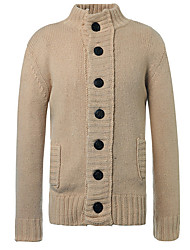 cheap -Men's Long Sleeves Loose Cardigan - Solid Colored Round Neck