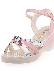 preiswerte -Damen Schuhe PU Sommer Pumps Komfort Sandalen Keilabsatz für Weiß Blau Rosa