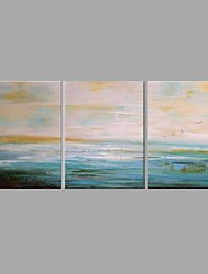cheap -Oil Painting Hand Painted - Abstract Landscape Comtemporary Modern Canvas Three Panels
