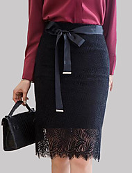 cheap -Women's Work Street chic Plus Size Pencil Skirts - Solid Colored, Lace High Waist