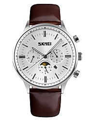 cheap -SKMEI Men's Fashion Watch / Dress Watch Calendar / date / day / Water Resistant / Water Proof / Casual Watch Leather Band Luxury / Elegant Brown / Stainless Steel