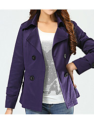 cheap -Women's Cotton Trench Coat - Solid Colored, Beaded / Spring / Fall