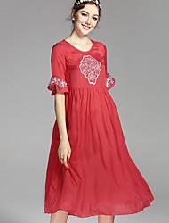 Недорогие -Жен. А-силуэт Платье - Однотонный, Классический Завышенная