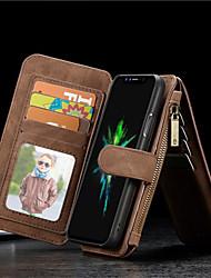 Недорогие -Кейс для Назначение Apple iPhone X / iPhone 8 Pluss / iPhone 8 Кошелек / Бумажник для карт / Защита от удара Чехол Однотонный Твердый Настоящая кожа