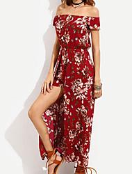 baratos -Mulheres balanço Vestido - Estampado, Floral Ombro a Ombro Longo Vermelho
