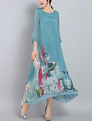 Недорогие -Жен. Свободный силуэт С летящей юбкой Платье - Цветочный принт, С принтом Пэчворк