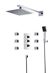 Недорогие -Смеситель для душа - Современный Хром На стену Медный клапан Bath Shower Mixer Taps / Латунь