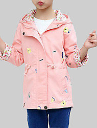 cheap -Girls' Daily Going out Floral Trench Coat, Rayon Spring Fall Long Sleeves Casual Street chic Blushing Pink Light Blue