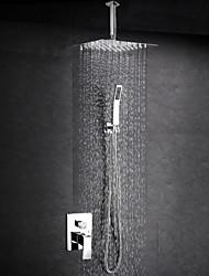 Sustav za tuširanje Tuš s kišnim mlazom Tuš uključen Keramičke ventila Dvije ručke jedna rupa Chrome, Slavina za tuš