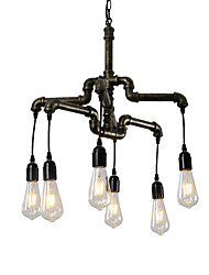 cheap -6-Head Vintage Industrial Pipe Simple Loft Iron Pipe Pendant Lights Living Room Dining Room Kitchen Cafe Hallway Bar Lighting