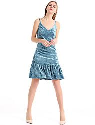 Недорогие -Жен. Тонкие Облегающий силуэт Оболочка Платье - Однотонный, Оборки На бретелях
