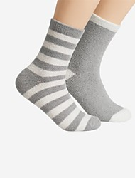 cheap -Women's Normal Medium Socks, Cotton Striped Two-piece Suit Blushing Pink Gray Light Blue