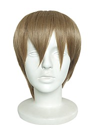 cheap -Synthetic Wig Yaki Straight Bob Haircut Synthetic Hair Natural Hairline Brown Wig Men's Short Capless