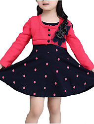 cheap -Girl's Daily Going out Solid Polka Dot Floral Dress, Cotton Spring Fall Long Sleeves Cute Active Red Blushing Pink Fuchsia