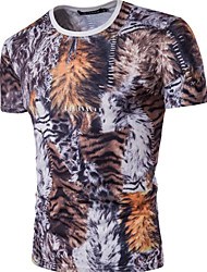 cheap -Men's T-shirt - Leopard, Print Round Neck