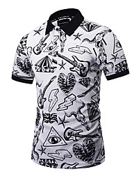 cheap -Men's Exaggerated Plus Size Cotton Slim Polo - Graphic Print Shirt Collar / Short Sleeve / Club