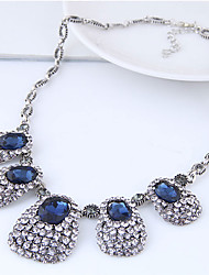 cheap -Women's Rhinestone Statement Necklace  -  Vintage Fashion European Geometric Dark Blue Necklace For Party