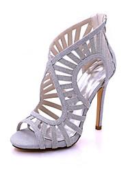 Mulheres Sapatos Glitter Primavera Verão Plataforma Básica Sandálias Salto Agulha Dedo Aberto Presilha para Casamento Festas & Noite