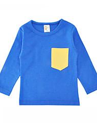 baratos -Unisexo Camiseta Diário Feriado Sólido Primavera Outono Algodão Manga Longa Simples Azul Vermelho Cinzento Amarelo