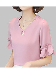 Недорогие -женская рубашка с хлопковым рукавом - сплошная шея