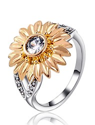 cheap -Women's Cubic Zirconia Band Ring / Knuckle Ring - Zircon, Alloy Sunflower Vintage, Fashion 7 / 8 / 9 Gold For Gift / Holiday