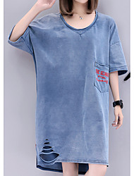 abordables -Femme Basique Coton Toile de jean Robe Couleur Pleine Coeur Au dessus du genou / Printemps / Eté