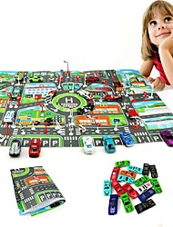 cheap -10Pcs Cars &1Pcs Map 83*58CM City PARKING LOT Roadmap Toy Car Vehicles Maps Car Metal Alloy Kid's Gift