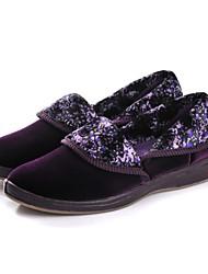 baratos -Mulheres Sapatos Flanelado Primavera / Verão Conforto / Calçado vulcanizado Rasos Sem Salto Ponta Redonda / Dedo Fechado Roxo