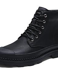 baratos -Homens sapatos Pele Outono / Inverno Conforto / Coturnos Botas Botas Curtas / Ankle Preto