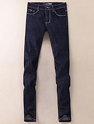 economico -pantaloni jeans micro-elasticizzati normali da uomo di media altezza, semplici in fibra di bambù cotone solido invernale