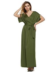 billige -Dame Plusstørrelser Bomuld Løstsiddende Løstsiddende Kjole - Ensfarvet, Krøllede Folder Maxi V-hals