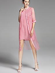 Недорогие -Жен. Классический Прямое Платье - Однотонный Вырез под горло До колена