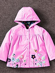 cheap -Girls' Daily Going out Solid Colored Floral Trench Coat, Cotton Polyester Spring Fall Long Sleeves Casual Active Blue Green Red Blushing