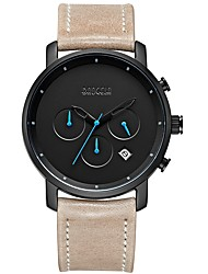 cheap -BAOGELA Men's Quartz Fashion Watch Sport Watch Casual Watch Chinese Stopwatch Three Time Zones Genuine Leather Band Casual Fashion Black