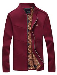 Недорогие -Муж. Куртка Воротник-стойка На каждый день - Однотонный Крупногабаритные