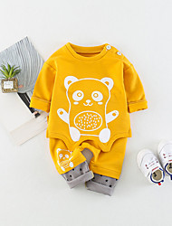 cheap -Baby Unisex Daily Solid Animal Print Clothing Set, Cotton Spring Summer Cute Active Long Sleeves Blue Yellow