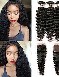 Недорогие -Бразильские волосы Крупные кудри Волнистый Ткет человеческих волос 4шт С детскими волосами Подарок Высокое качество Мода Все Для вечеринок