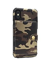 Недорогие -Кейс для Назначение Apple iPhone X / iPhone 8 Кошелек / Магнитный Кейс на заднюю панель Камуфляж Твердый Кожа PU для iPhone 8 Pluss / iPhone 8