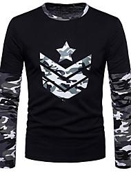 preiswerte -Männer täglichen Sport casual Military Color Block Rundhals Sweatshirt regelmäßig, lange Ärmel Frühling Herbst Baumwolle Spandex